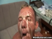 Messy male bareback ridding