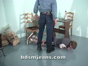 Cody in jeans spank his dirty slave