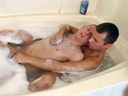 Guys start up in the tub and fuck in the bed