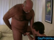 Old gay bear getting his dick sucked