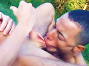 Hot latin guy sucks balls on hood of jeep