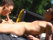 Latin homie gets some great head in his truck