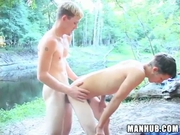 2 cute guys fuck each other by a lake