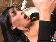 Sexy tranny gets a milky load on her big tits