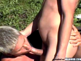 Beautiful guys breeding outdoors in public