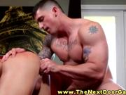 Tattooed gay jock toys and fucks ass