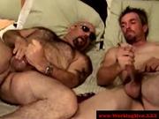 Hairy mature bears suck and tug dick