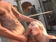 Busty blonde tranny Ashley B anal rammed