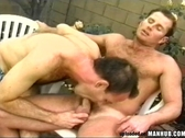 Two burly men go down on each other & fuck