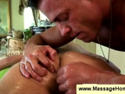 Muscled masseur tickles clients butthole