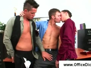 Steamy gay threesome in the office