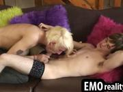 Blond Emo BF Blows on My Fleshy Whistle