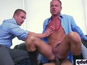 White stud riding on long black dong