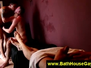Deepthroat blowjob between two horny guys