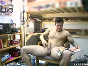 College guy jerks his rod to relax
