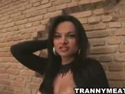 Hot latina ho jerks her cock