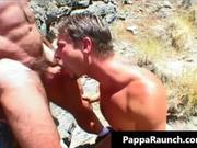 Two gay guys suck cock and fuck outdoors