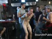 Bound gay taken in bar where gets fuck