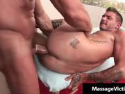 Sexy gay hunk gets facial after sucking