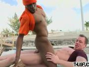 muscular jock anal fucks black thug on a roof