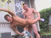 hunk fucks handsome stud in the ass outdoors