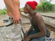 muscular jock anal fucks black thug outdoors