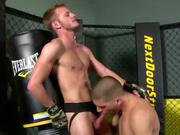 Jock gay wrestler blows teammate