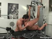 Muscular hot stud Tom sucks gay sausage