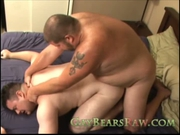 Two gay bears humping bareback