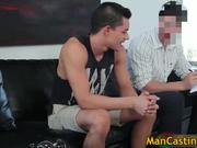 Attractive gay hunk sucks fat rigid cock