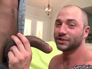 Hairy gay bear takes large black gay