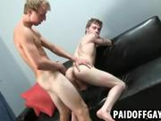 Two hot amateur hunks are fucking for money