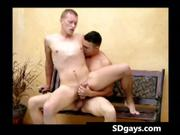 Blonde gay guy sucks hard cock and gets