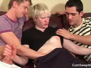 Blonde gay dude gets in the middle