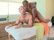 Muscular bald hunk massage dude then