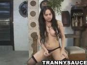 Hot tranny babe stroking it