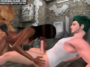 3D ebony tranny double teamed