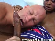 Ebony shemale eagerly blown by her horny stud