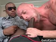 Pierced sack gets hard black
