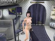 Sexy 3D shemale stewardess getting a footjob