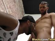 Whitey sucks big black cock and tugs himself