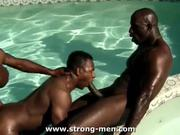Black Threesome Outdoors