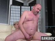 Mature bear fucked by hung smooth twink