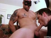 Muscled and tattooed hunk gets sucked 3
