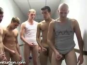 5 Guys Perform Handjob For Initiation