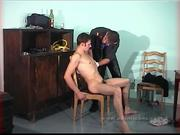 Master in uniform humiliates his slave