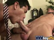 Latino Swallows His White Co-Worker's Cock