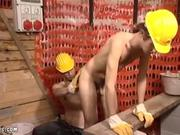 Steamy Old+y-ung gay sex at a construction si