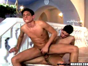 Cute guys fucking bareback in a pool house