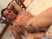 Hot guy wanks his long dick after working out